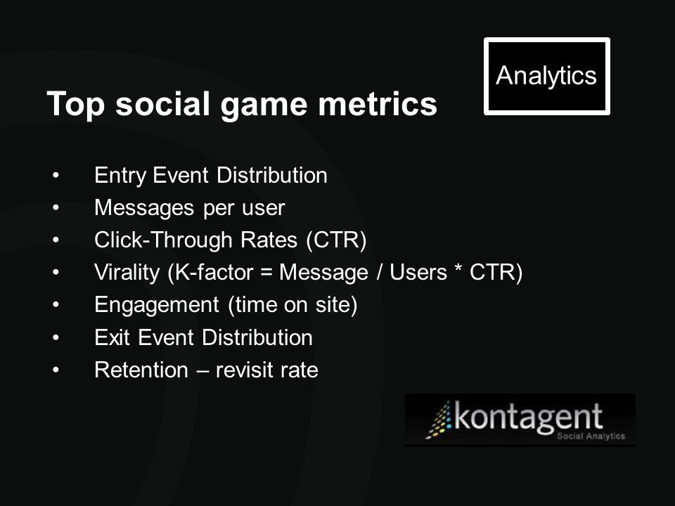 Top social game metrics Analytics Entry Event Distribution Messages per user Click-Through Rates (CTR) Virality (K-factor = Message / Users * CTR) Eng