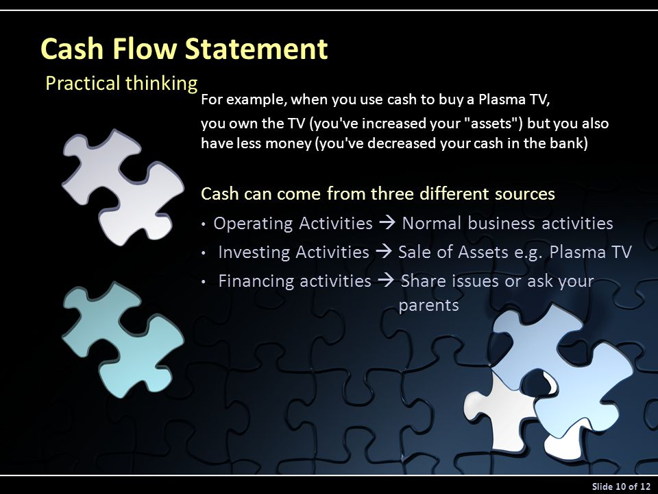 For example, when you use cash to buy a Plasma TV, you own the TV (you ve increased your assets ) but you also have less money (you ve decreased your cash in the bank) Cash can come from three different sources Operating Activities  Normal business activities Investing Activities  Sale of Assets e.g.