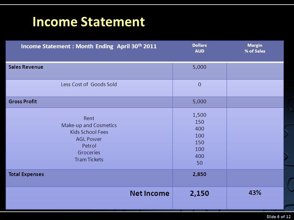 Income Statement Slide 6 of 12