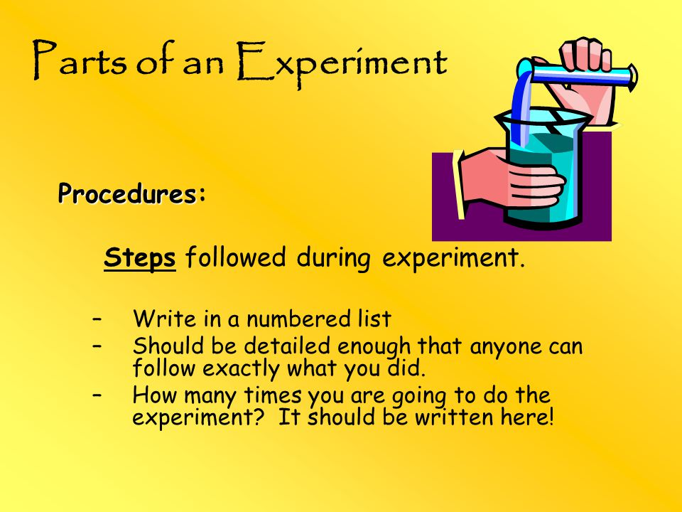 Procedures Procedures: Steps followed during experiment.