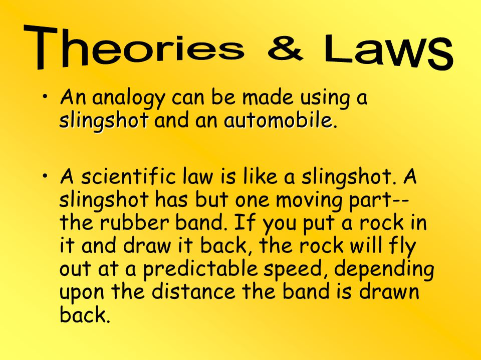 slingshotautomobileAn analogy can be made using a slingshot and an automobile.