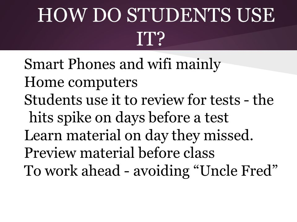 HOW DO STUDENTS USE IT? Smart Phones and wifi mainly Home computers Students use it to review for tests - the hits spike on days before a test Learn m