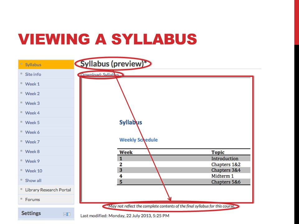 VIEWING A SYLLABUS