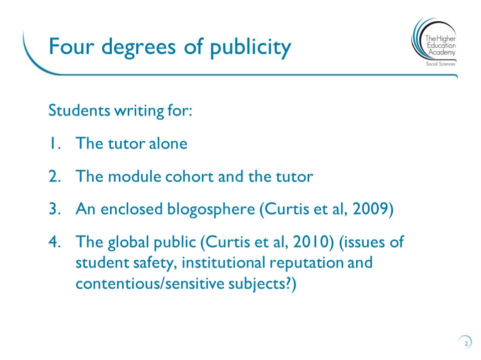 Students writing for: 1.The tutor alone 2.The module cohort and the tutor 3.An enclosed blogosphere (Curtis et al, 2009) 4.The global public (Curtis et al, 2010) (issues of student safety, institutional reputation and contentious/sensitive subjects ) 2 Four degrees of publicity