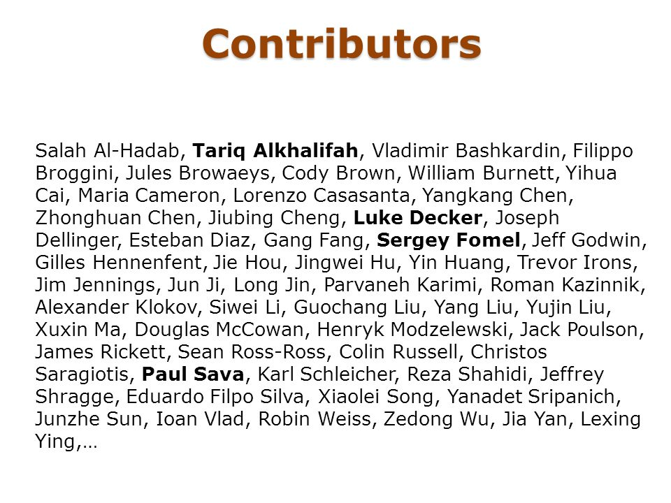 Contributors Salah Al-Hadab, Tariq Alkhalifah, Vladimir Bashkardin, Filippo Broggini, Jules Browaeys, Cody Brown, William Burnett, Yihua Cai, Maria Ca