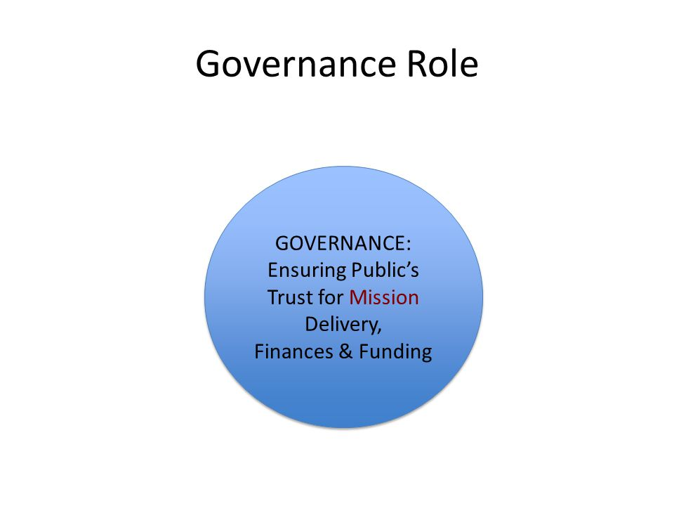 Governance Role GOVERNANCE: Ensuring Public's Trust for Mission Delivery, Finances & Funding GOVERNANCE: Ensuring Public's Trust for Mission Delivery, Finances & Funding