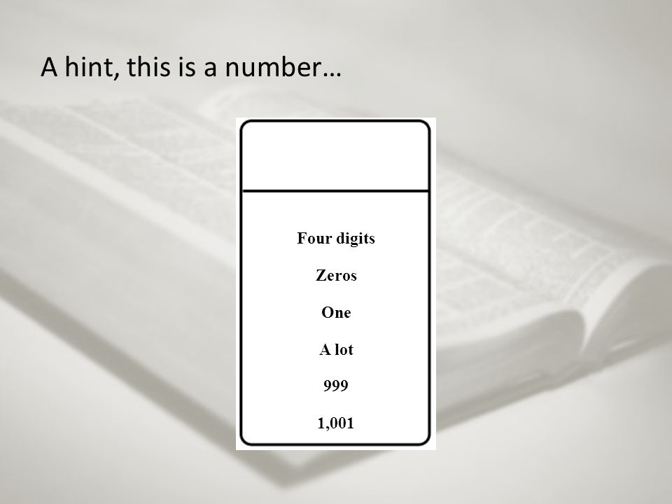 A hint, this is a number… Four digits Zeros One A lot 999 1,001