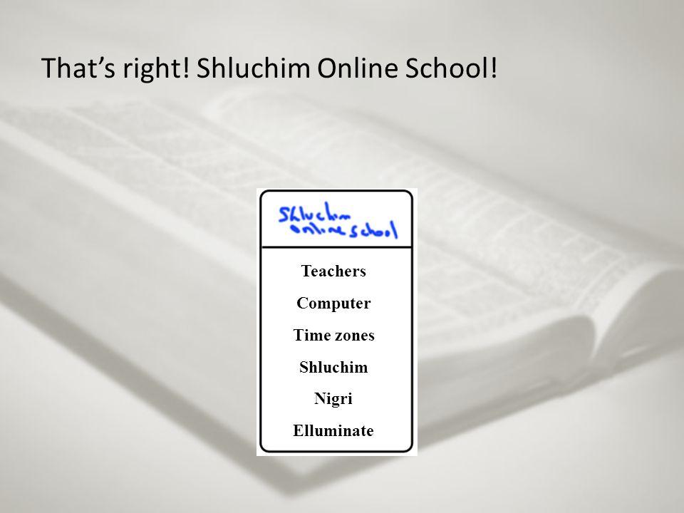 That's right! Shluchim Online School! Teachers Computer Time zones Shluchim Nigri Elluminate