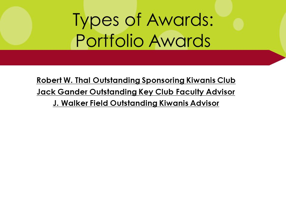 Types of Awards: Portfolio Awards Robert W.