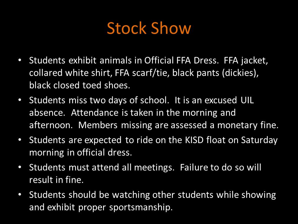 Stock Show Students exhibit animals in Official FFA Dress.