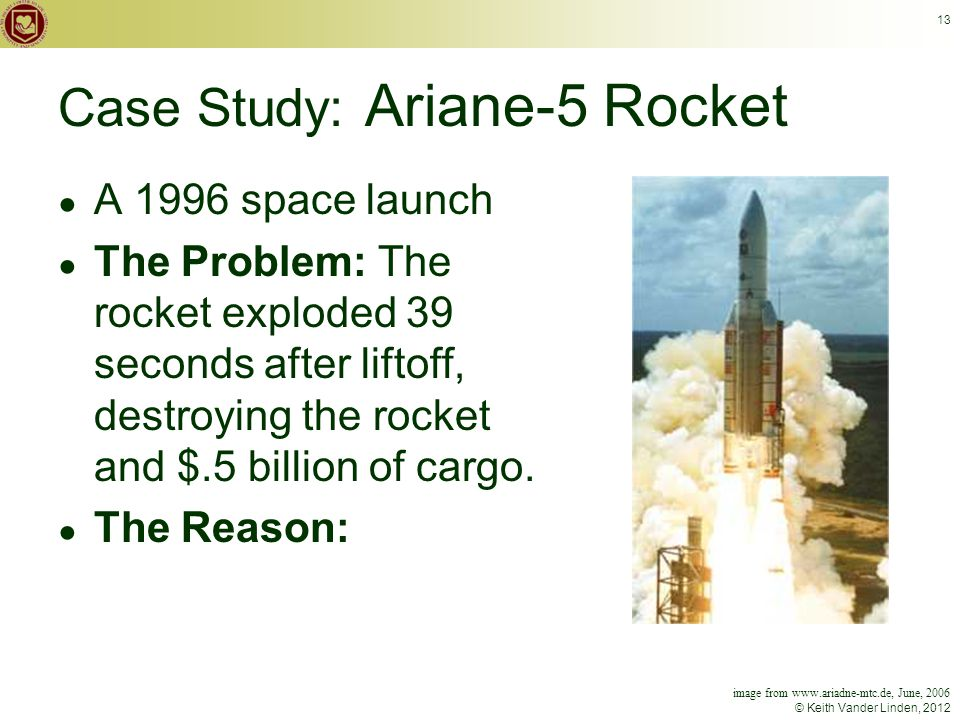© Keith Vander Linden, 2012 13 Case Study: Ariane-5 Rocket ● A 1996 space launch ● The Problem: The rocket exploded 39 seconds after liftoff, destroying the rocket and $.5 billion of cargo.