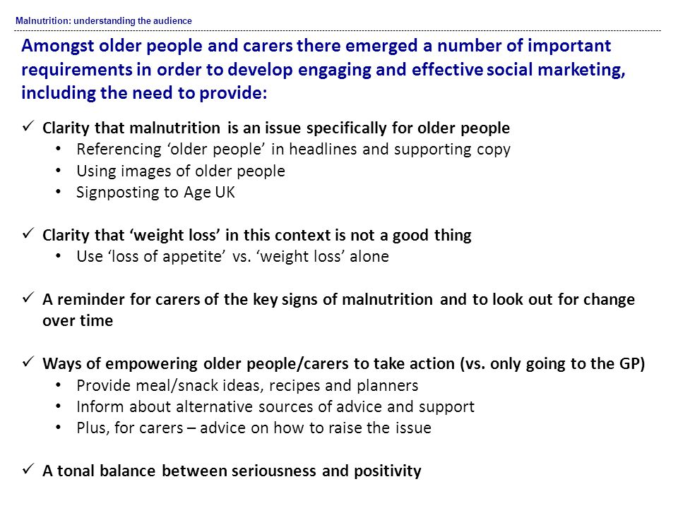 Malnutrition: understanding the audience Clarity that malnutrition is an issue specifically for older people Referencing 'older people' in headlines and supporting copy Using images of older people Signposting to Age UK Clarity that 'weight loss' in this context is not a good thing Use 'loss of appetite' vs.