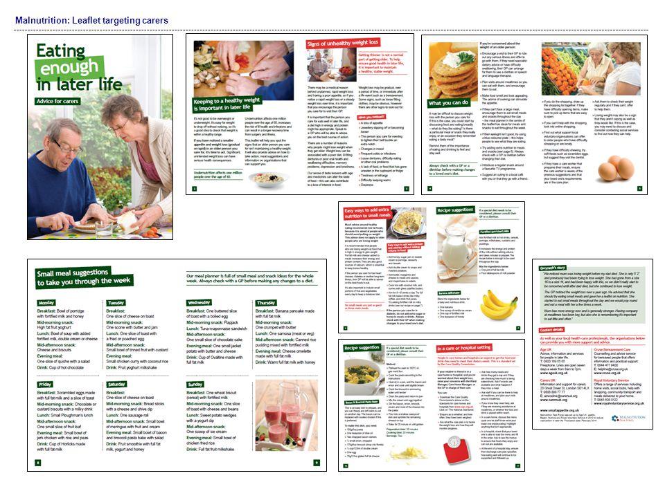 Malnutrition: Leaflet targeting carers