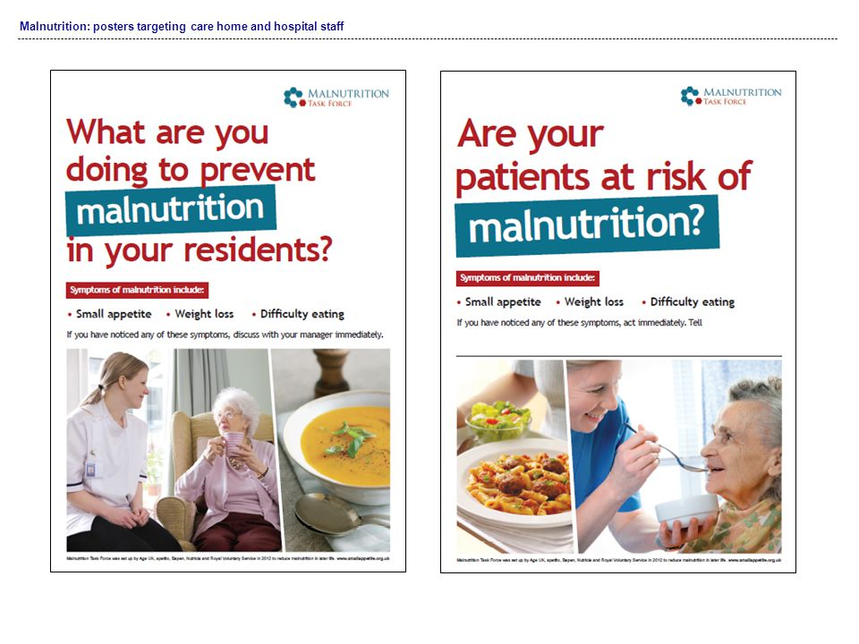 Malnutrition: posters targeting care home and hospital staff
