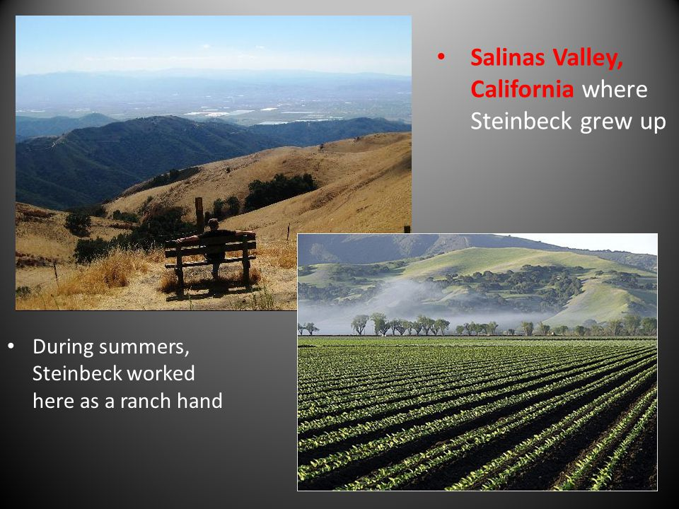 Salinas Valley, California where Steinbeck grew up During summers, Steinbeck worked here as a ranch hand