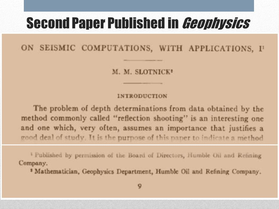 First Paper Published in Geophysics