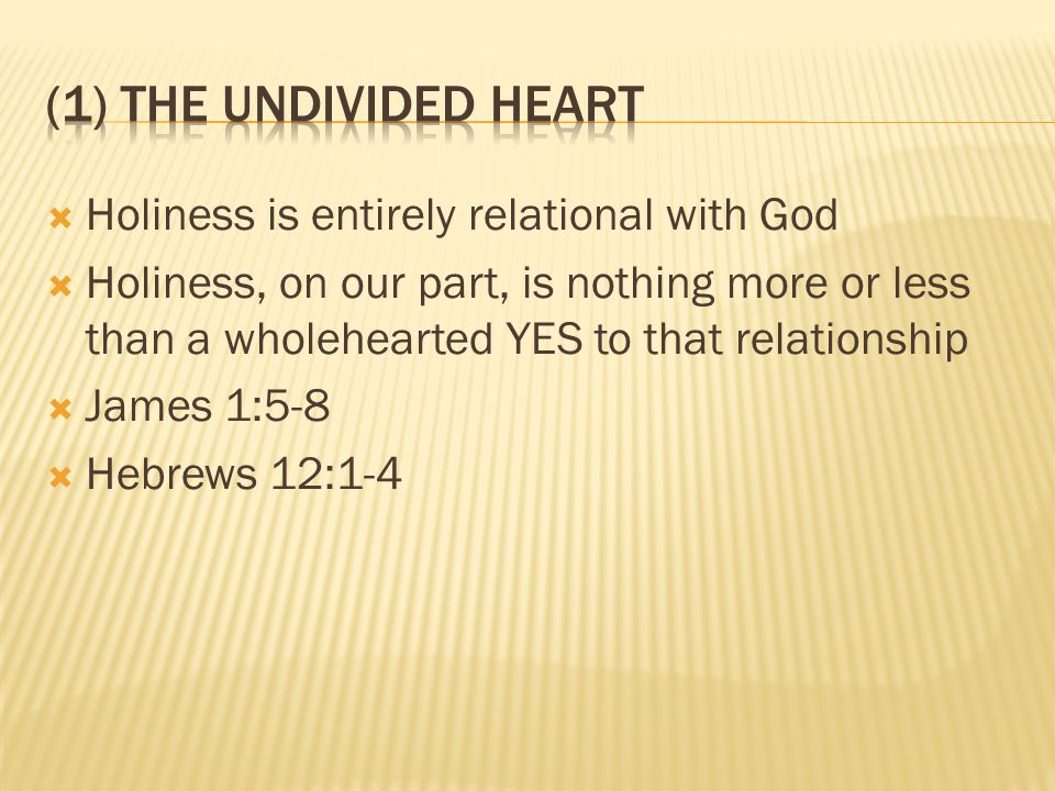  Holiness is entirely relational with God  Holiness, on our part, is nothing more or less than a wholehearted YES to that relationship  James 1:5-8  Hebrews 12:1-4