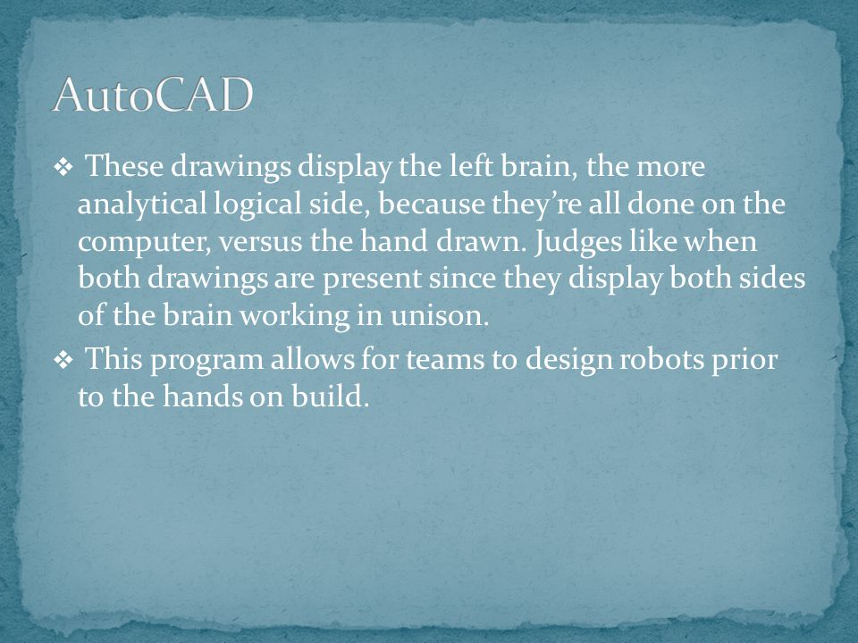  These drawings display the left brain, the more analytical logical side, because they're all done on the computer, versus the hand drawn.