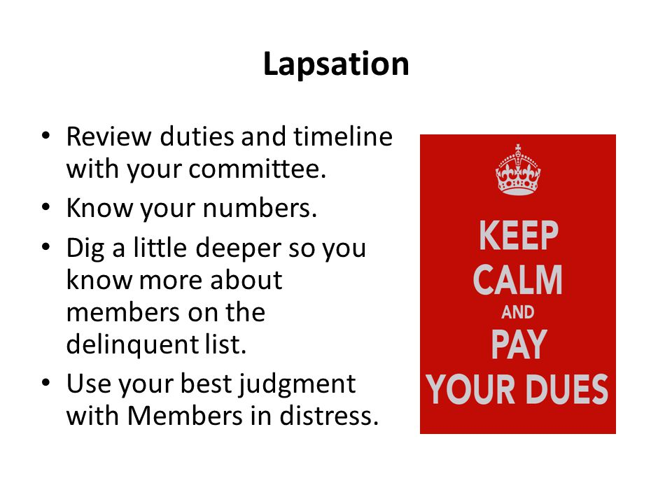 Lapsation Review duties and timeline with your committee.
