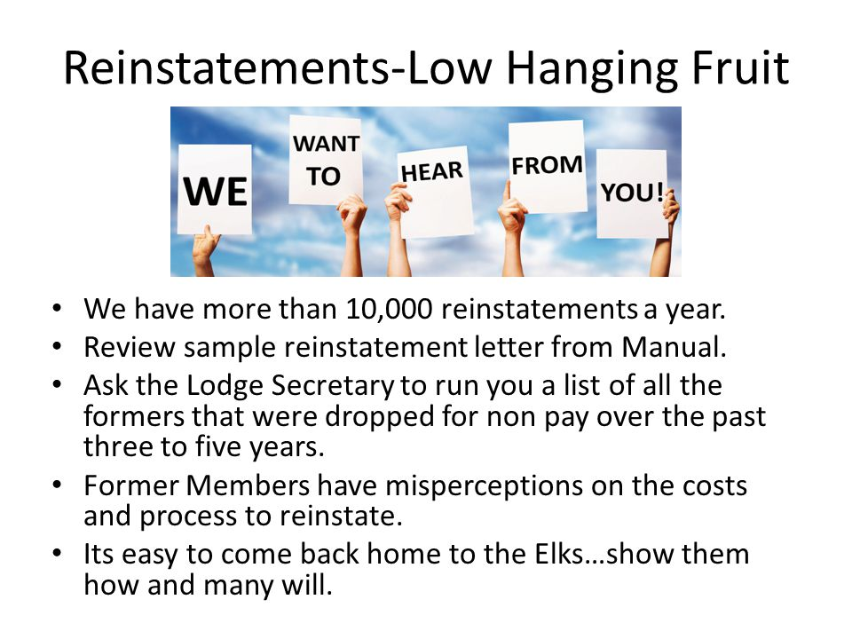 Reinstatements-Low Hanging Fruit We have more than 10,000 reinstatements a year.