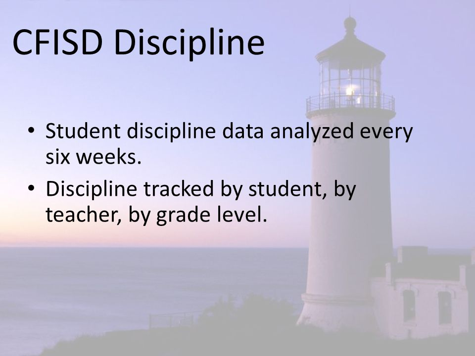 CFISD Discipline Student discipline data analyzed every six weeks. Discipline tracked by student, by teacher, by grade level.