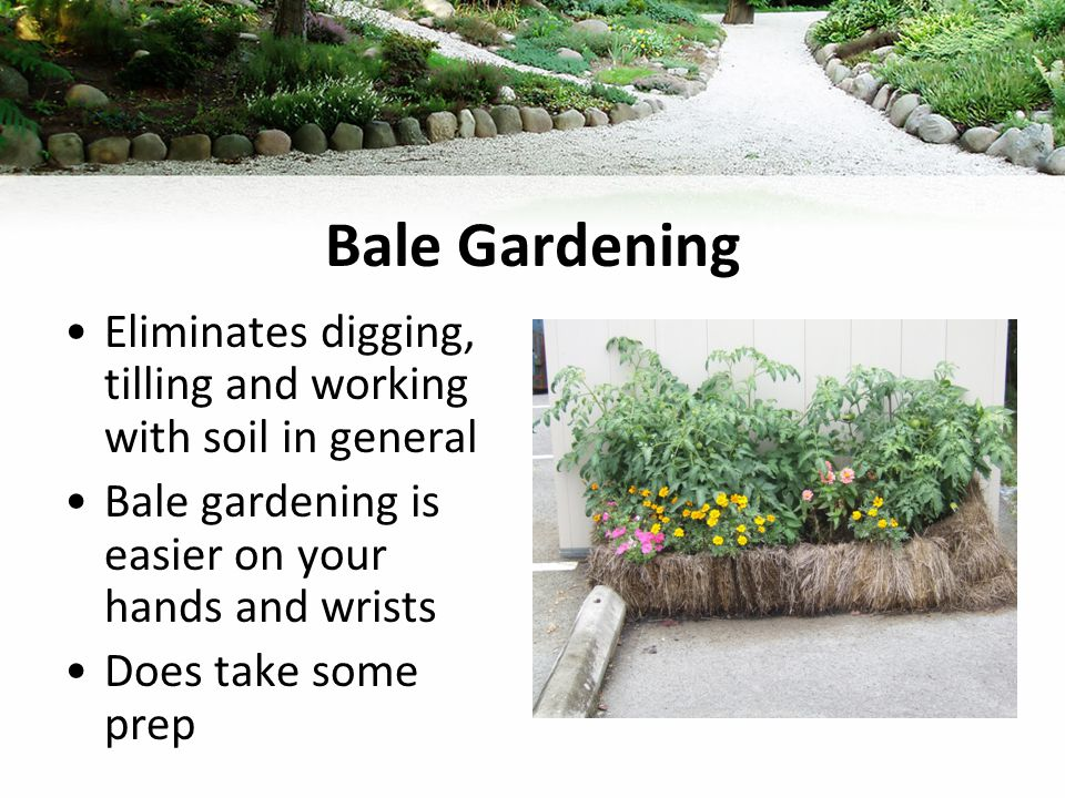 Bale Gardening Eliminates digging, tilling and working with soil in general Bale gardening is easier on your hands and wrists Does take some prep