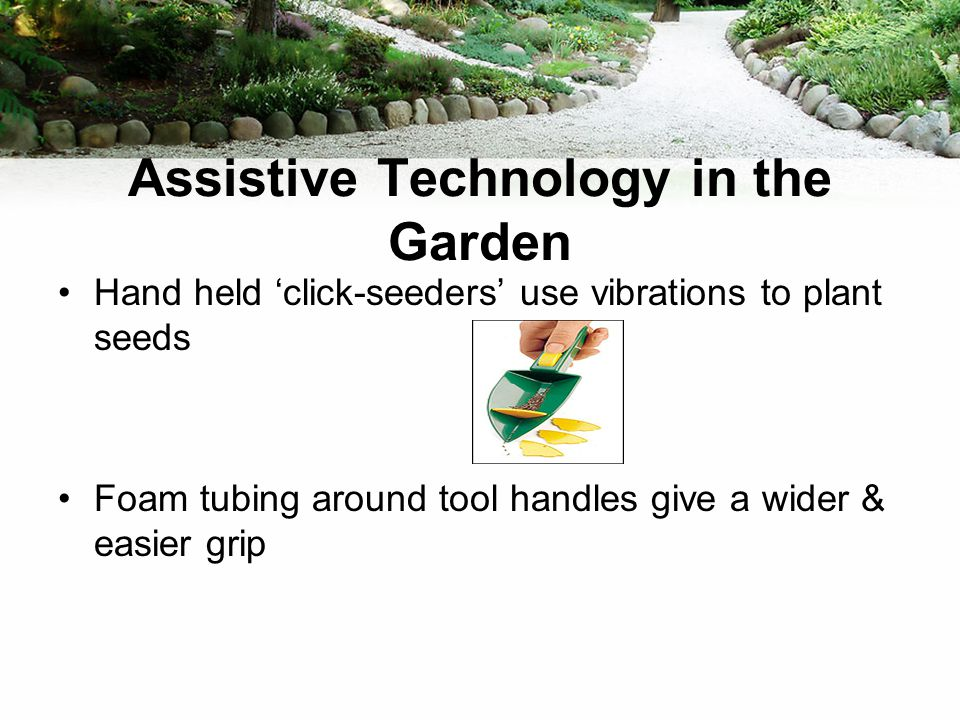 Assistive Technology in the Garden Hand held 'click-seeders' use vibrations to plant seeds Foam tubing around tool handles give a wider & easier grip