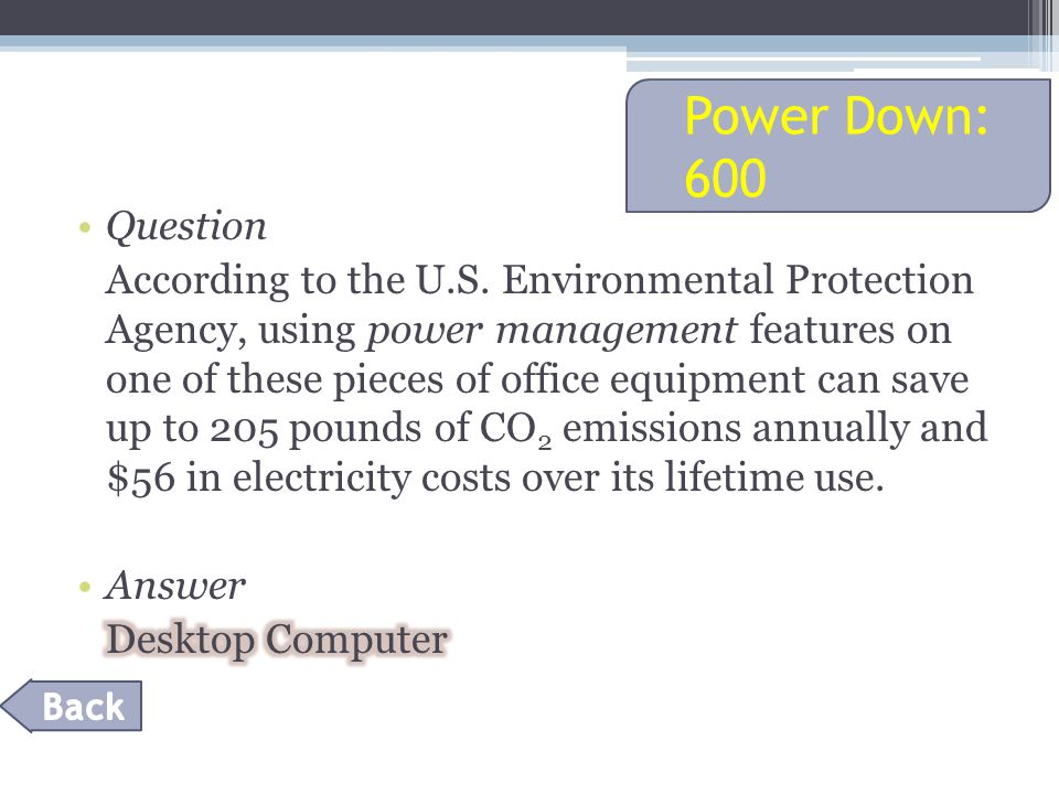 Power Down: 600