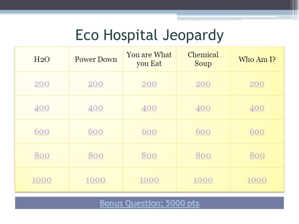 Eco Hospital Jeopardy