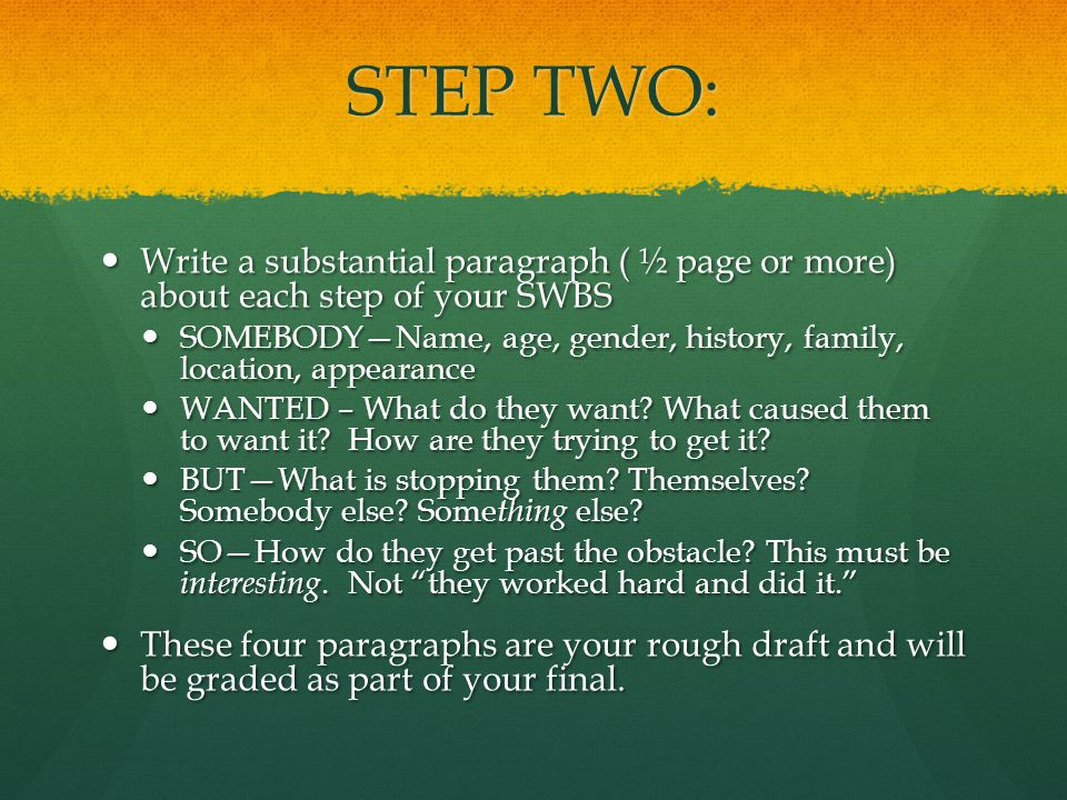 STEP TWO: Write a substantial paragraph ( ½ page or more) about each step of your SWBS Write a substantial paragraph ( ½ page or more) about each step of your SWBS SOMEBODY—Name, age, gender, history, family, location, appearance SOMEBODY—Name, age, gender, history, family, location, appearance WANTED – What do they want.