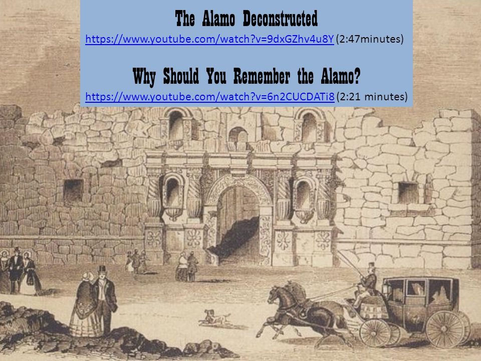 The Alamo Deconstructed https://www.youtube.com/watch?v=9dxGZhv4u8Yhttps://www.youtube.com/watch?v=9dxGZhv4u8Y (2:47minutes) Why Should You Remember t