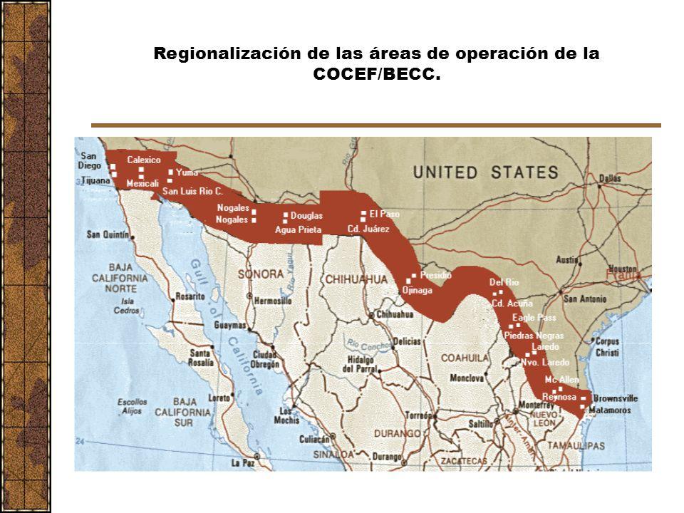 Regionalización de las áreas de operación de la COCEF/BECC.