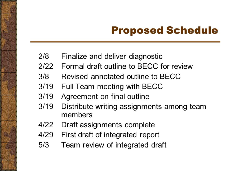 Proposed Schedule 2/8Finalize and deliver diagnostic 2/22Formal draft outline to BECC for review 3/8Revised annotated outline to BECC 3/19Full Team meeting with BECC 3/19Agreement on final outline 3/19Distribute writing assignments among team members 4/22Draft assignments complete 4/29First draft of integrated report 5/3Team review of integrated draft