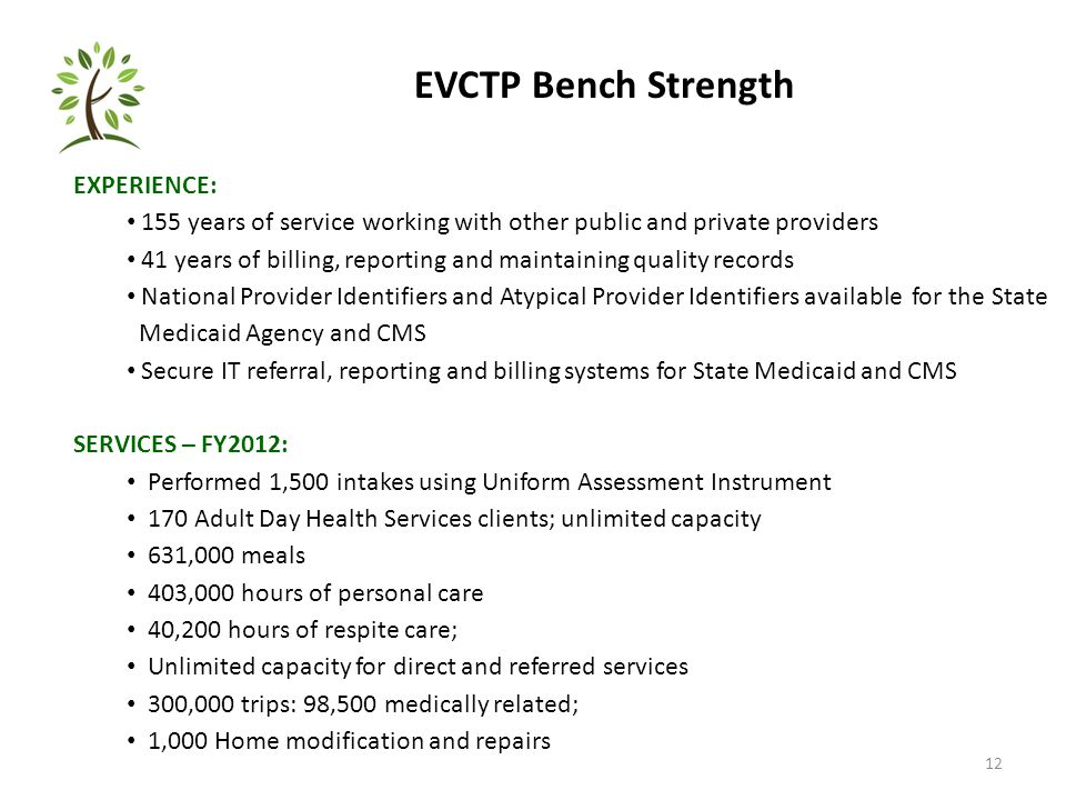 12 EVCTP Bench Strength EXPERIENCE: 155 years of service working with other public and private providers 41 years of billing, reporting and maintaining quality records National Provider Identifiers and Atypical Provider Identifiers available for the State Medicaid Agency and CMS Secure IT referral, reporting and billing systems for State Medicaid and CMS SERVICES – FY2012: Performed 1,500 intakes using Uniform Assessment Instrument 170 Adult Day Health Services clients; unlimited capacity 631,000 meals 403,000 hours of personal care 40,200 hours of respite care; Unlimited capacity for direct and referred services 300,000 trips: 98,500 medically related; 1,000 Home modification and repairs