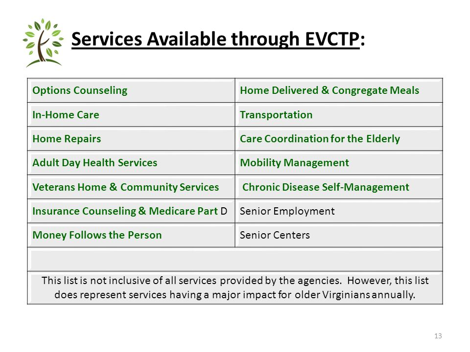 Services Available through EVCTP: 13 Options CounselingHome Delivered & Congregate Meals In-Home CareTransportation Home RepairsCare Coordination for the Elderly Adult Day Health ServicesMobility Management Veterans Home & Community Services Chronic Disease Self-Management Insurance Counseling & Medicare Part DSenior Employment Money Follows the PersonSenior Centers This list is not inclusive of all services provided by the agencies.