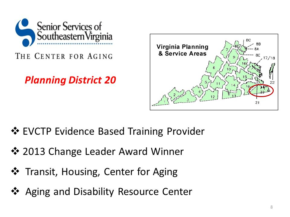  EVCTP Evidence Based Training Provider  2013 Change Leader Award Winner  Transit, Housing, Center for Aging  Aging and Disability Resource Center 8 Planning District 20