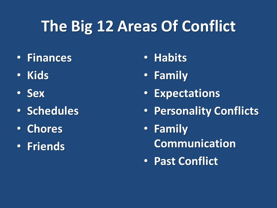 The Big 12 Areas Of Conflict Finances Finances Kids Kids Sex Sex Schedules Schedules Chores Chores Friends Friends Habits Habits Family Family Expectations Expectations Personality Conflicts Personality Conflicts Family Communication Family Communication Past Conflict Past Conflict