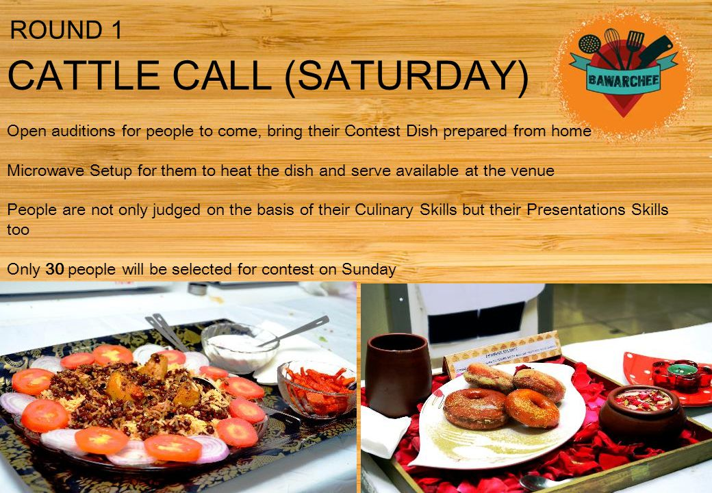 CATTLE CALL (SATURDAY) Open auditions for people to come, bring their Contest Dish prepared from home Microwave Setup for them to heat the dish and serve available at the venue People are not only judged on the basis of their Culinary Skills but their Presentations Skills too Only 30 people will be selected for contest on Sunday ROUND 1