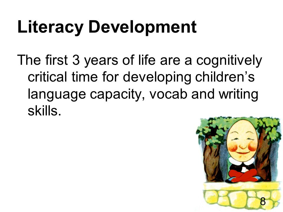Literacy Development The environmental aspects of children's lives, their experiences and the opportunities they are given all play an important role in building their brains with a strong foundation for later literacy success.