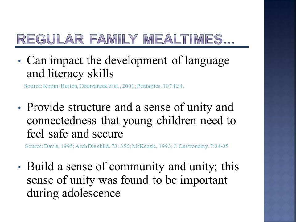 Can impact the development of language and literacy skills Source: Kimm, Barton, Obarzaneck et al., 2001; Pediatrics.