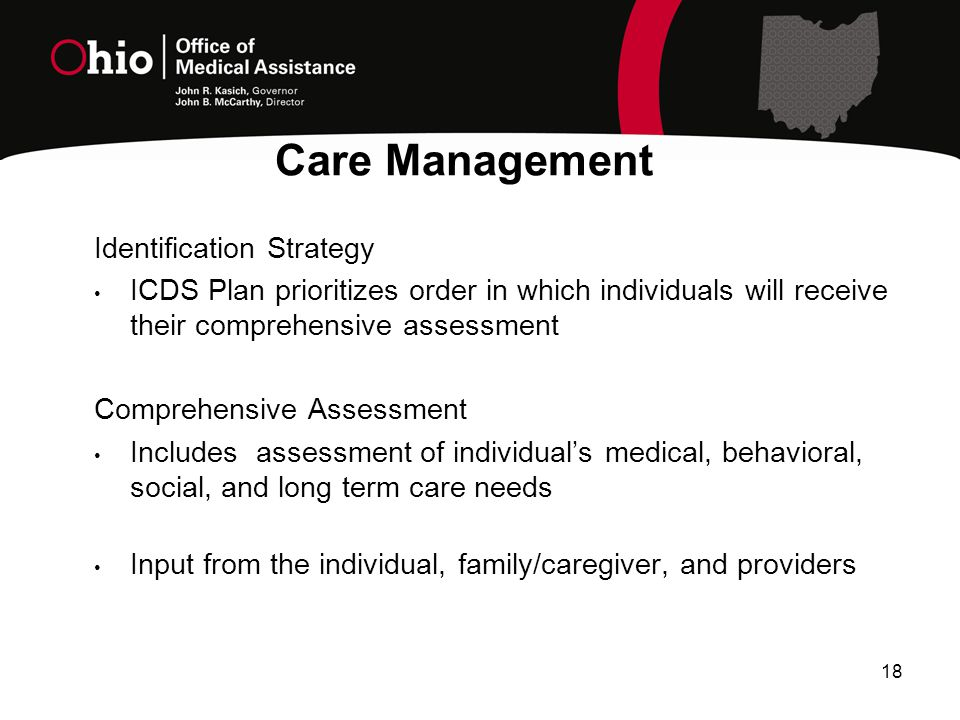 18 Identification Strategy ICDS Plan prioritizes order in which individuals will receive their comprehensive assessment Comprehensive Assessment Includes assessment of individual's medical, behavioral, social, and long term care needs Input from the individual, family/caregiver, and providers Care Management