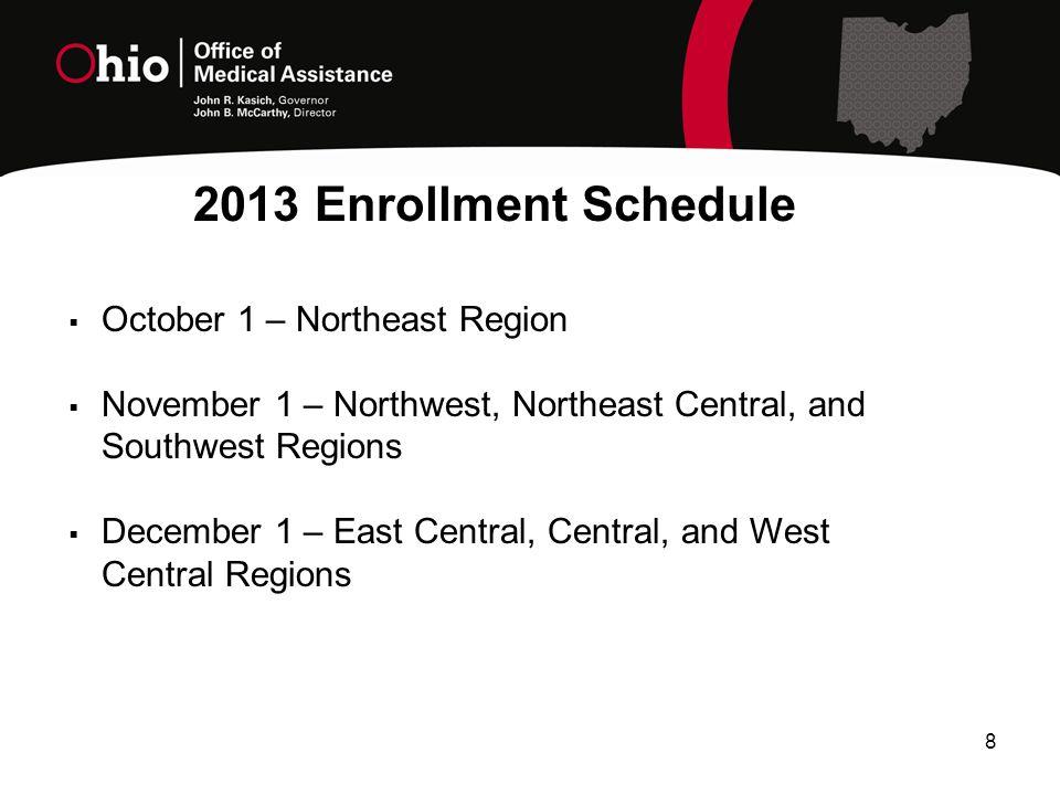 8  October 1 – Northeast Region  November 1 – Northwest, Northeast Central, and Southwest Regions  December 1 – East Central, Central, and West Central Regions 2013 Enrollment Schedule