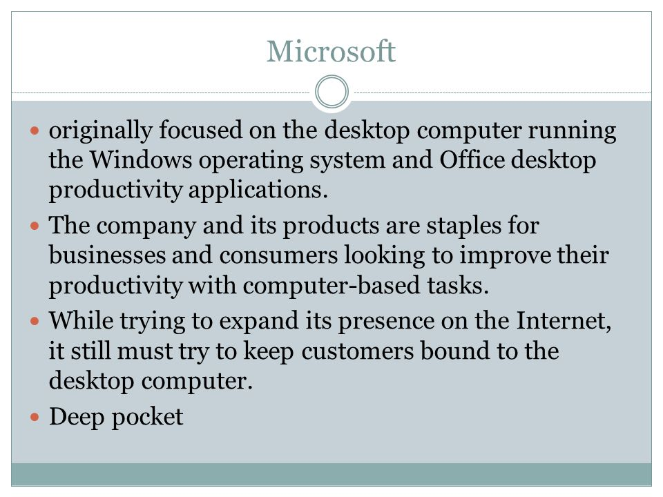 Microsoft originally focused on the desktop computer running the Windows operating system and Office desktop productivity applications.