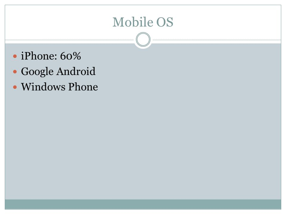 Mobile OS iPhone: 60% Google Android Windows Phone