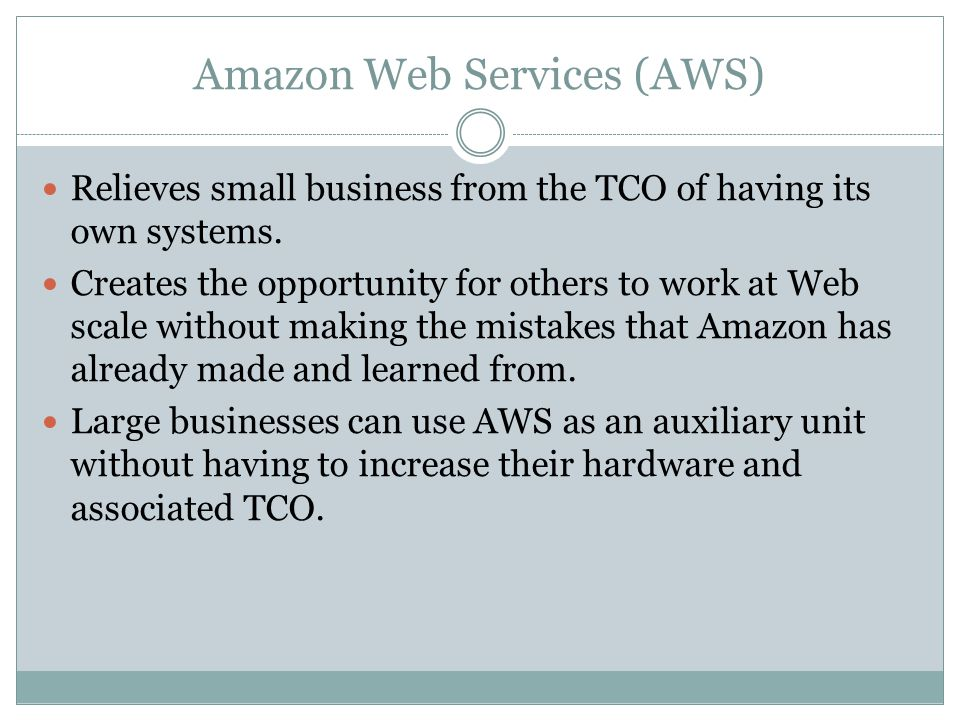 AWS Hardware components client/server architecture distributed processing storage area networks virtualization multicore processors