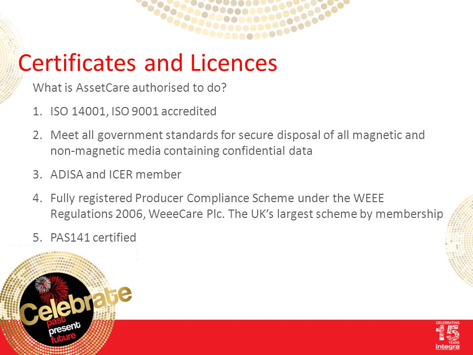 Certificates and Licences What is AssetCare authorised to do.