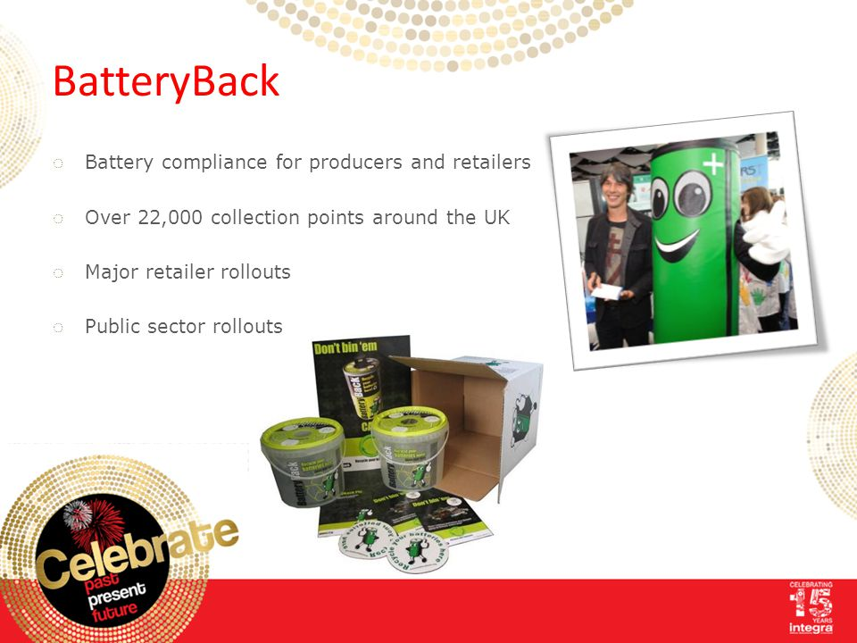 BatteryBack ◌ Battery compliance for producers and retailers ◌ Over 22,000 collection points around the UK ◌ Major retailer rollouts ◌ Public sector r
