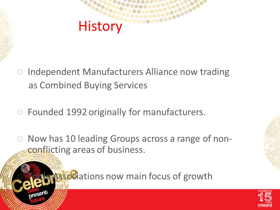 History ◌Independent Manufacturers Alliance now trading as Combined Buying Services ◌Founded 1992 originally for manufacturers.