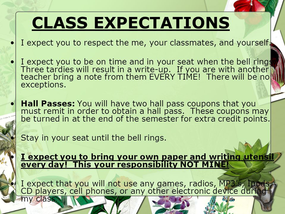 CLASS EXPECTATIONS I expect you to respect the me, your classmates, and yourself.