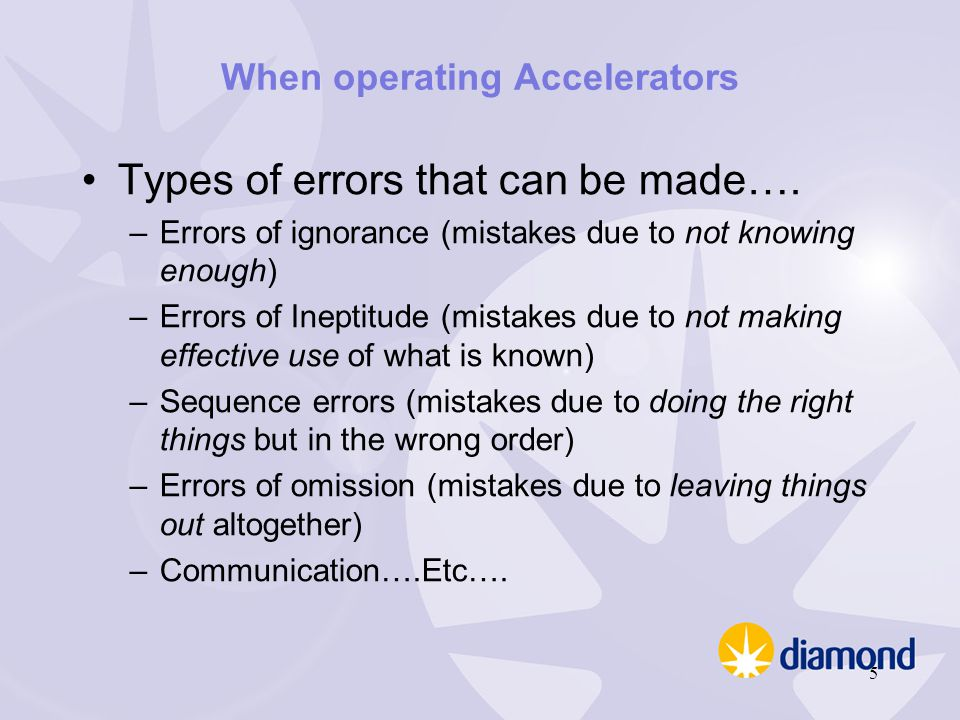 When operating Accelerators Types of errors that can be made…. –Errors of ignorance (mistakes due to not knowing enough) –Errors of Ineptitude (mistak